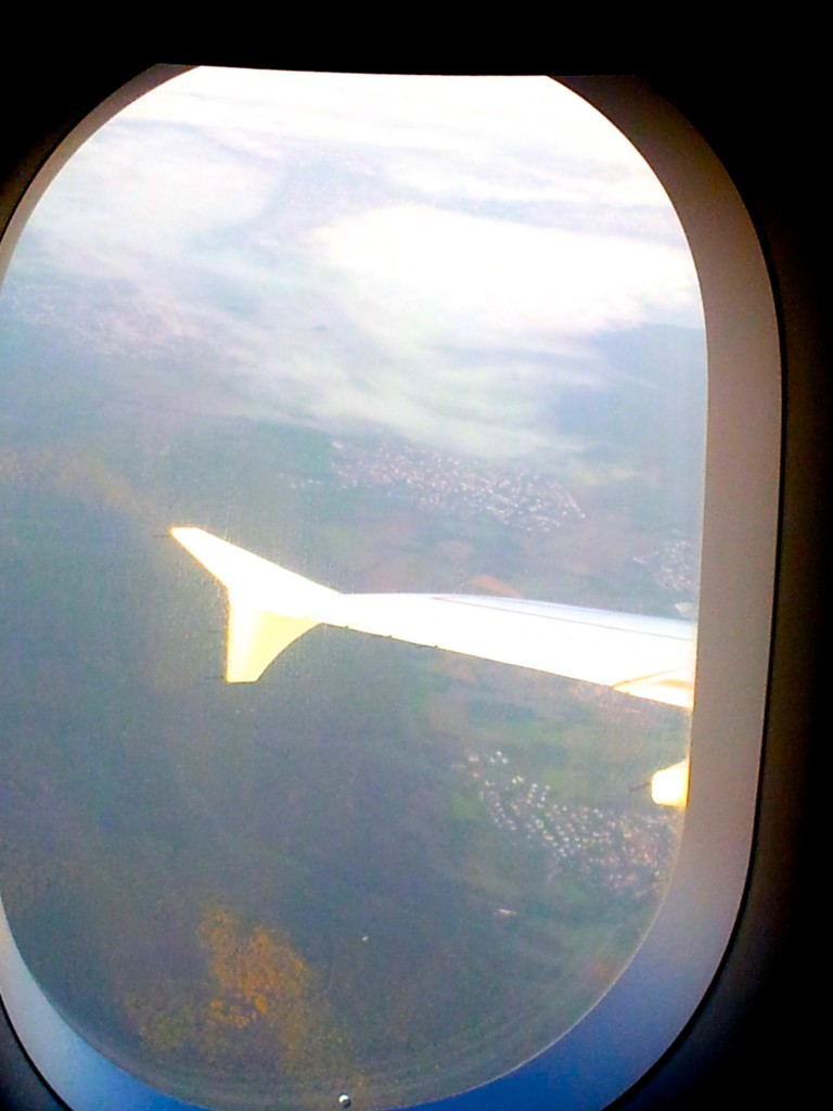 Flying over Frankfurt.